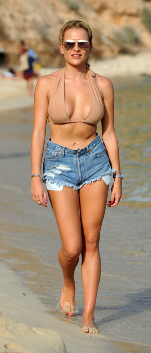 TOWIE's Georgia Kousoulou spotted filming the new series of The Only Way Is Essex on the beach in Palma, Majorca, 4th July 2016