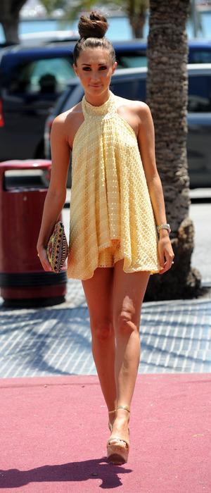TOWIE star Megan McKenna walking to Tito Nightclub in Majorca, Spain, 6th July 2016