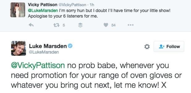 Vicky Pattison and Luke Marsden fallout on Twitter 5 July