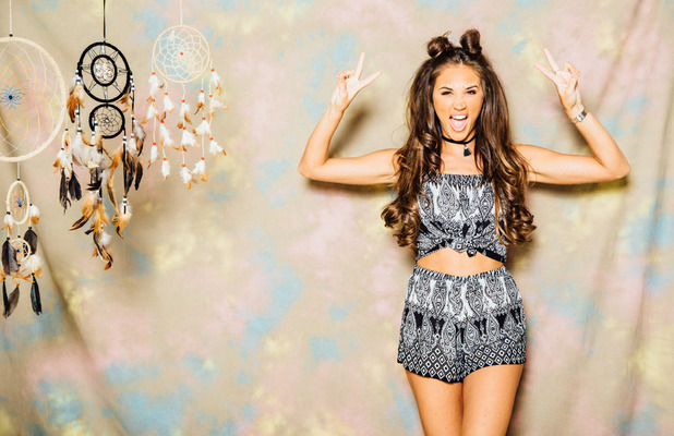 Ex On The Beach and TOWIE star Megan McKenna launches her festival fashion collection, paisley set, 6th July 2016