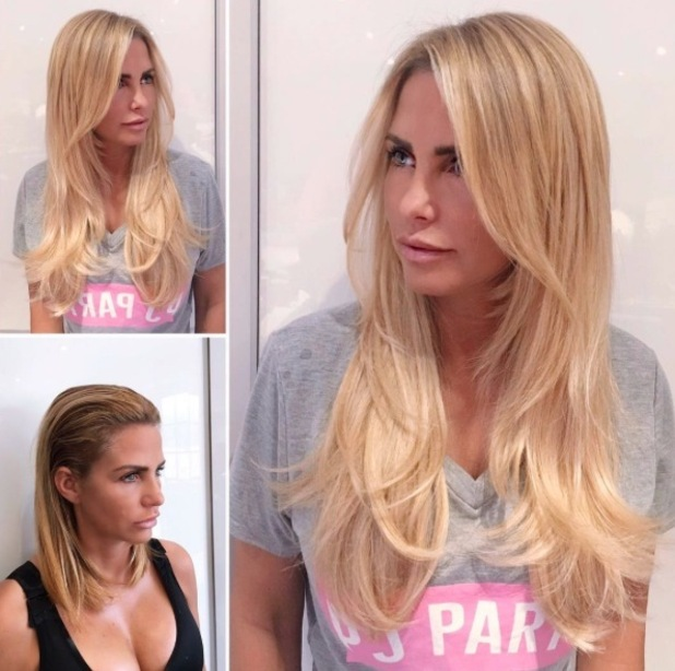 Katie Price opts for longer, blonder hair extensions courtesy of Easilocks, 4th July 2016