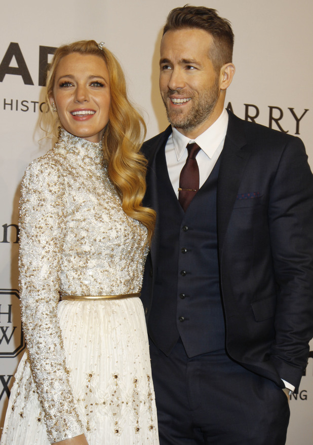 Blake Lively and Ryan Reynolds on February 10 2016 - amFar gala honoring Harvey Weinstein at the Cipriani Wall Street