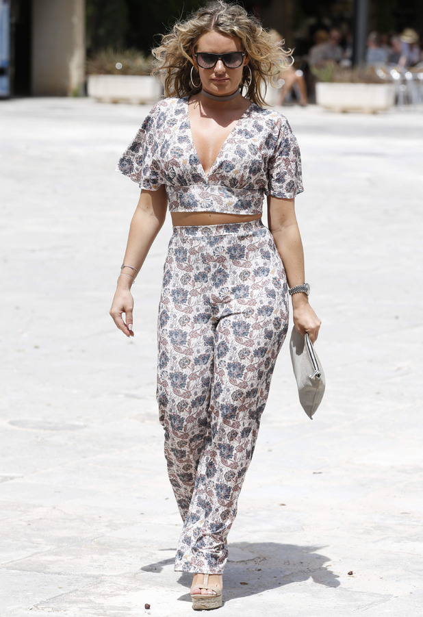 TOWIE's Danielle Armstrong pictured filming the new series of The Only Way Is Essex in Palma, wearing co-ordinates, Majorca, 4th July 2016