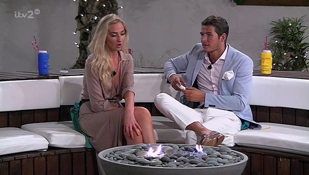 Lauren Whiteside and Adam Jukes, contestants on ITV reality show 'Love Island'. Broadcast on ITV2 HD.