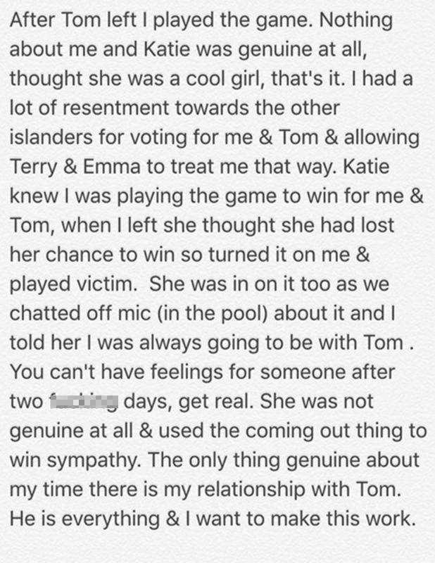 Sophie Gradon denies Katie Salmon coupling was genuine, Instagram, 8 July 2016