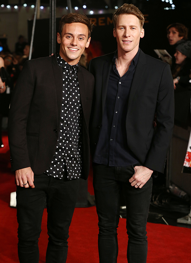 Tom Daley and Dustin Lance black at Hunger Games Mockingjay 2 Premiere 2015