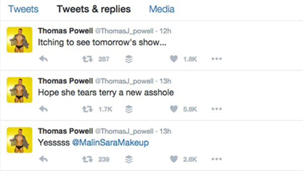 Tom Powell's tweets on Malin's return to Love Island