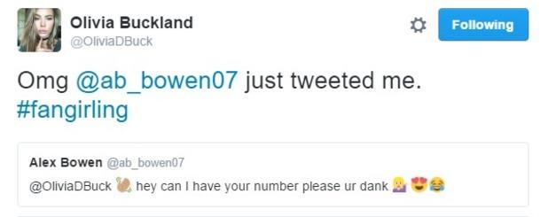 Alex Bowen and Olivia Buckland tweets 12 July