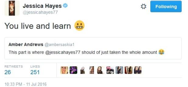 Jess Hayes tweet about Love Island winnings 11 July