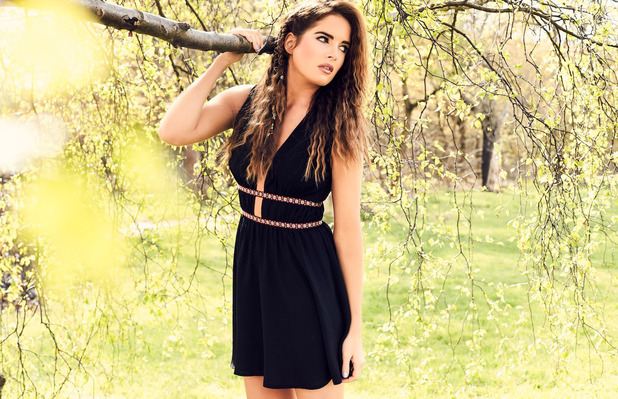 Made In Chelsea star Binky Felstead launches her high summer collection with In The Style, black dress, 12th July 2016