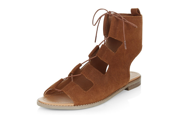 New Look Tan Leather Ghillie Sandals, £29.99, 12th July 2016