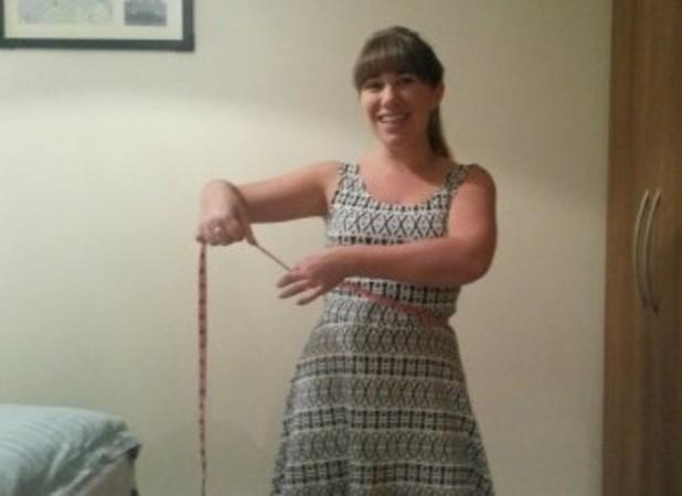 Sarah Whiteley, measuring up to start her wedding diet