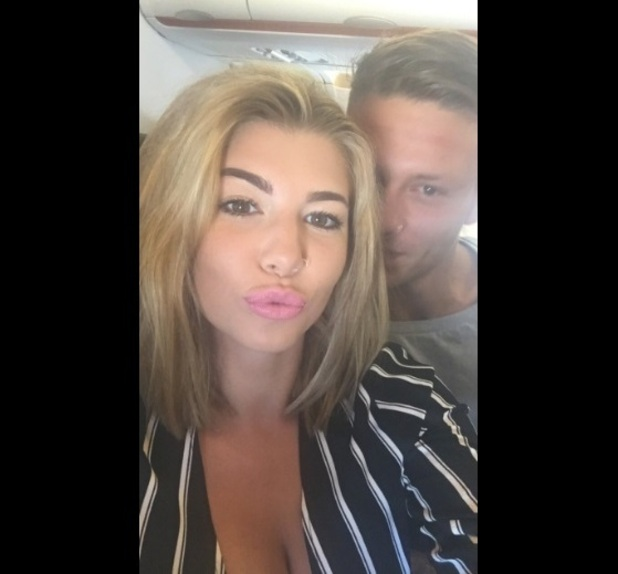 Love Island: Olivia Buckland and Alex Bowen at the airport after landing back in the UK 13 July 2016