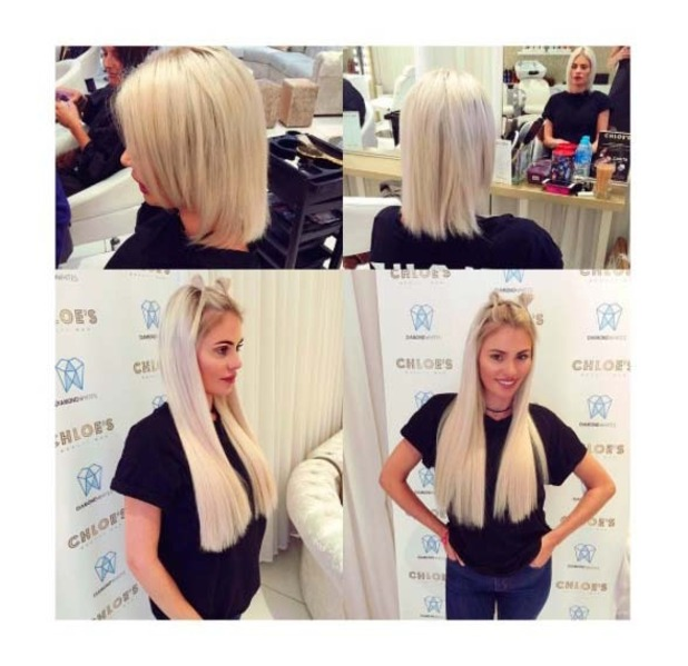 TOWIE star Chloe Sims gets longer blonder hair extensions, 13th July 2016