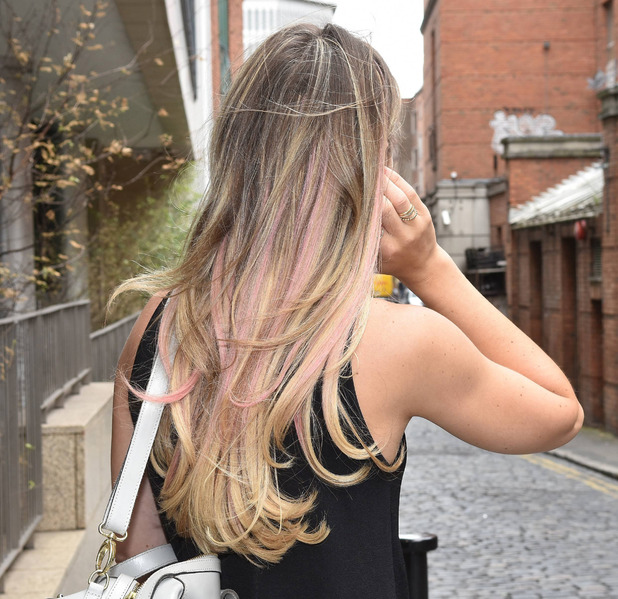 Vogue Williams shows off her pink highlights outside Today FM's Anton Savage Show, Dublin 12th July 2016