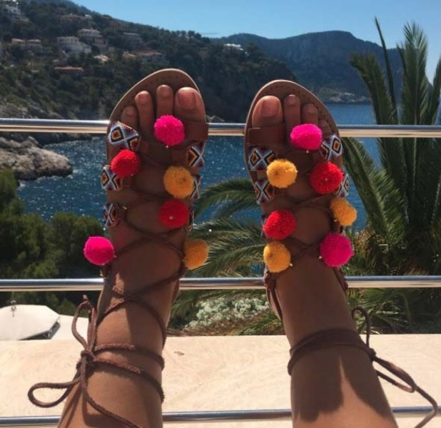 TOWIE's Chloe Lewis poses in New Look sandals in Majorca, 13th July 2016