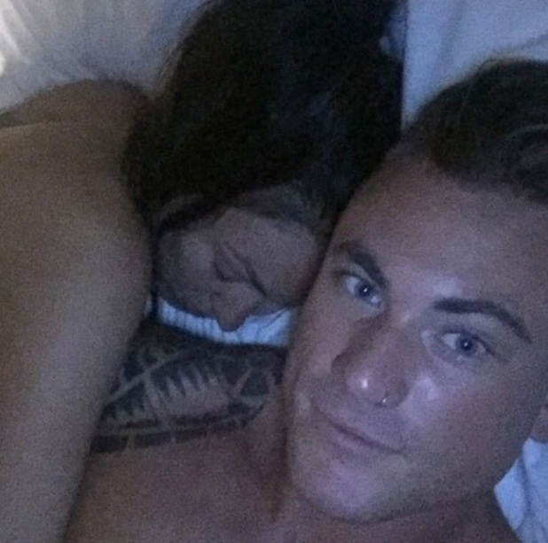 Love Island's Tom Powell and Sophie Gradon cuddle up in bed together, 12 July 2016
