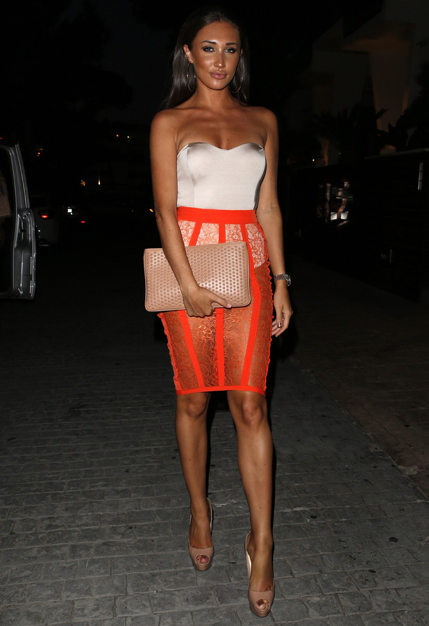TOWIE and Ex On The Beach star Megan McKenna spotted in see-through orange skirt in Palma, Majorca, 12th July 2016