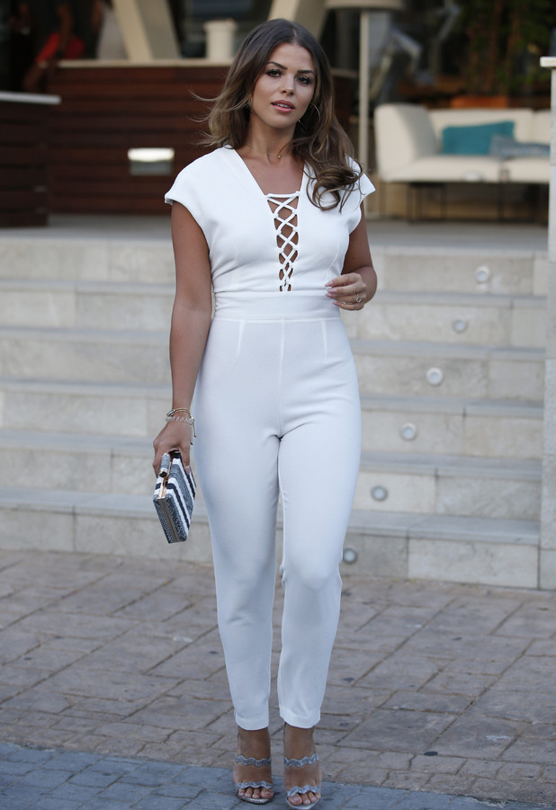 TOWIE's Chloe Lewis spotted in white jumpsuit as she films the new series of The Only Way Is Essex in Majorca, 9th July 2016