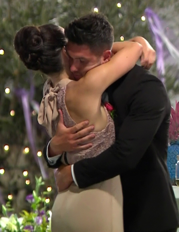 The final three couples read love letters they have written for each other on 'Love Island: Final'. Broadcast on ITV2HD Katie Salmon and Adam Maxted