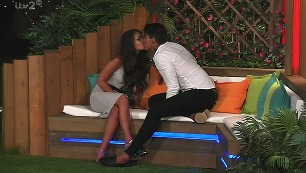 Terry Walsh and Emma-Jane Woodham, contestants on ITV reality show 'Love Island'. Broadcast on ITV2 HD.