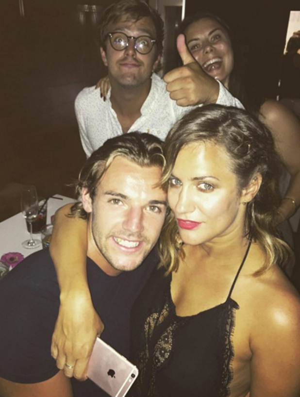 Love Island's Nathan Massey with Caroline Flack at finale, 11 July 2016