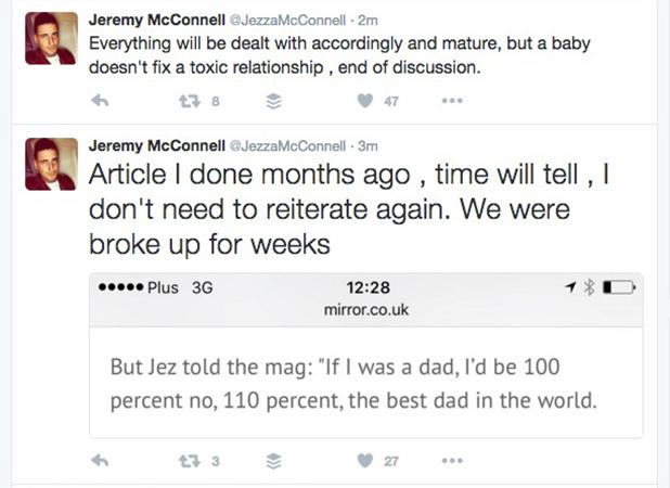 Jeremy McConnell responds to Stephanie Davis doing magazine interview about pregnancy 10 July 2016