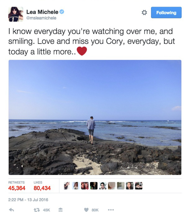 Glee's Lea Michele pays tribute to Cory Monteith on third anniversary of his death July 2016