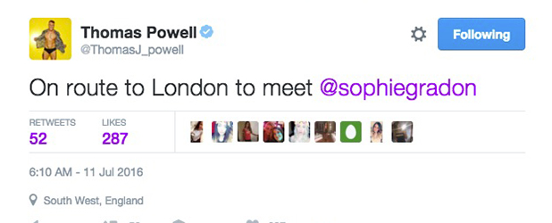 Love Island's Tom tweets that he's going to meet Sophie 10 July 2016