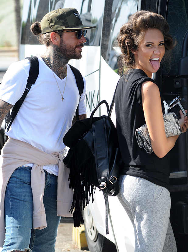 TOWIE stars Megan McKenna and Pete Wicks arrive in Palma