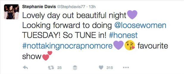 Stephanie Davis reveals Loose Women appearance, 2016