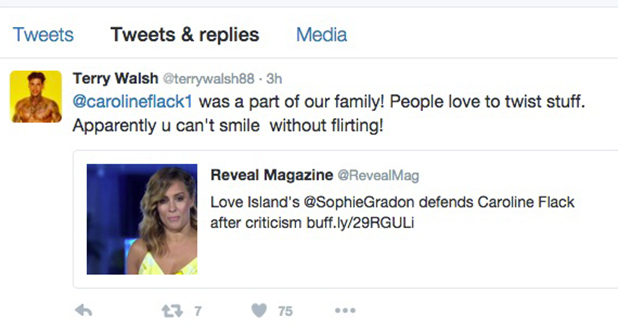 Terry Walsh defends Love Island host Caroline Flack, 2016