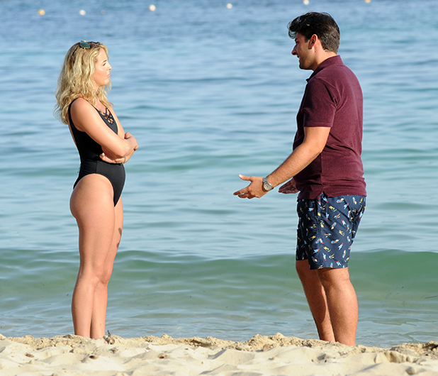 James 'Arg' Argent and Lydia Bright meet for the first time since their break up on the beach in Palma, Spain whilst filming for the new series of 'The Only Way Is Essex'