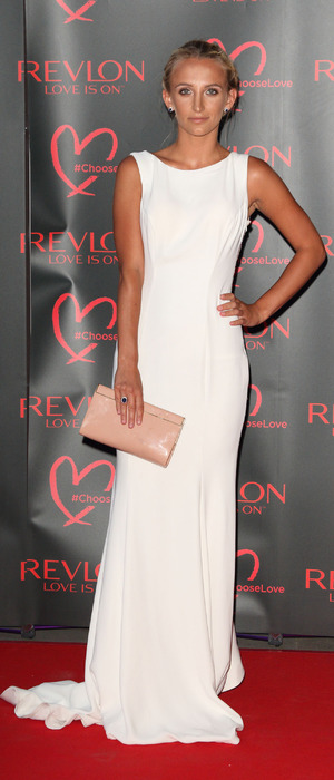 MIC star Tiffany Watson at the Revlon Choose Love masquerade ball, The Victoria and Albert Museum, London, 21 July 2016