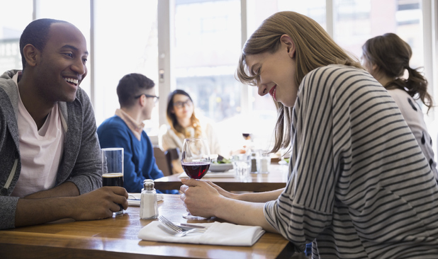 Stock image of a couple on a date