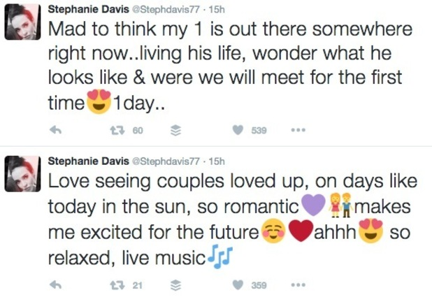 Stephanie Davis tweets about The One 18 July
