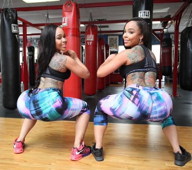 Miriam and Michelle Carolus working out in the gym together