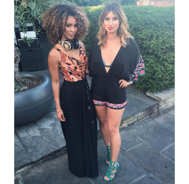 Former The Only Way Is Essex star Ferne McCann wearing £18 Boohoo playsuit in Essex, 20 July