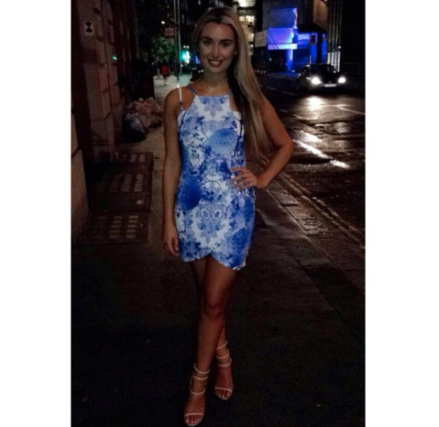 Love Island star Rachel Fenton wears dress from her own collection with StyleGrab on night out, London, 19th July 2016