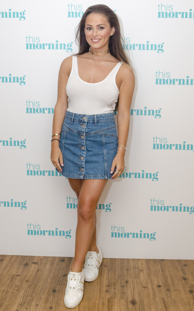 TOWIE's Courtney Green appears on This Morning in denim skirt and white vest top, 20th July 2016