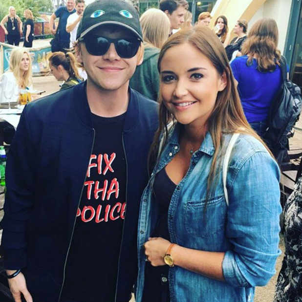 Jacqueline Jossa and Rupert Grint at Thorpe Park's latest ride, Derren Brown's Ghost Train Launch 21 July 2016