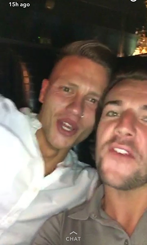 Love Island stars reunite at Sheesh Chigwell in Essex: Nathan Massey and Alex Bowen 20 July 2016