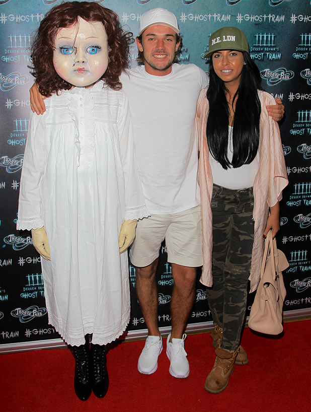 Cara de la Hoyde and Nathan Massey, Thorpe Park's latest ride, Derren Brown's Ghost Train Launch 21 July 2016