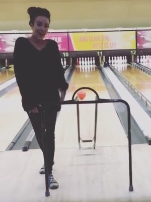 Stephanie Davis enjoys a night of bowling - 26 July 2016