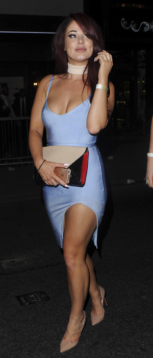 Love Island star Jessica Hayes attends party after The Intent premiere, London, 25th July 2016