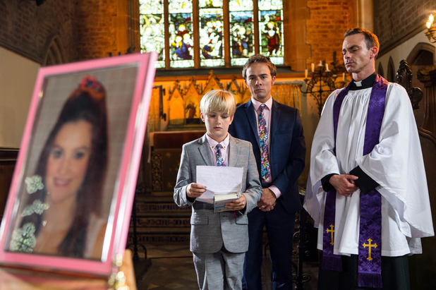 Corrie, David and Max at Kylie's funeral, Mon 1 Aug