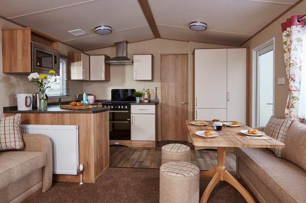Oakley caravan sleeps four at Perran Sands holiday camp in Perranporth