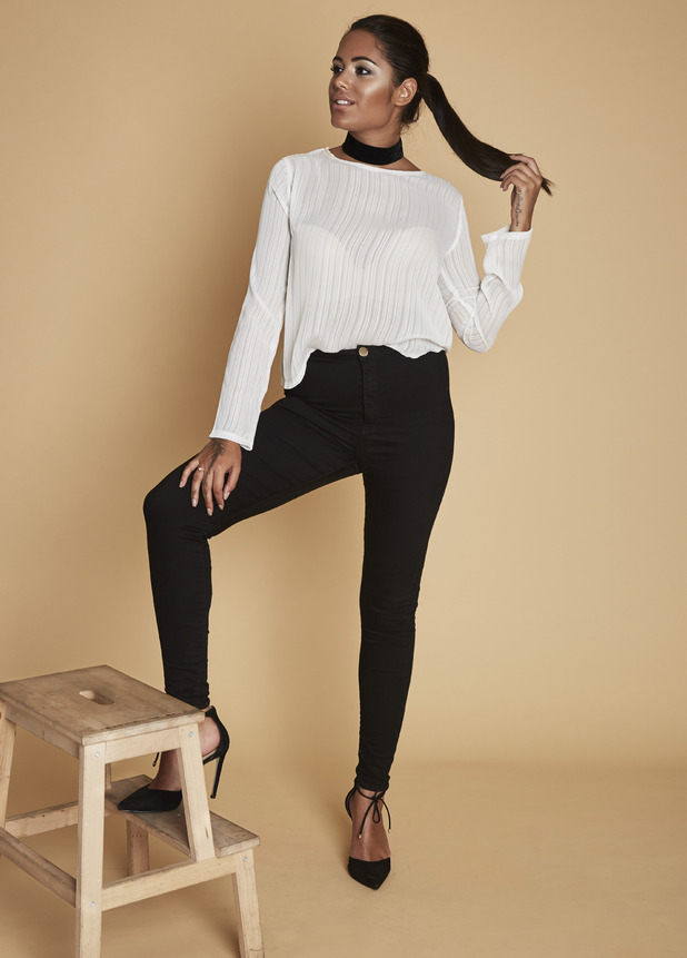 Love Island's Malin Andersson shows off her clothing collection with Oh Weekend, white top and black jeans, 25th July 2016