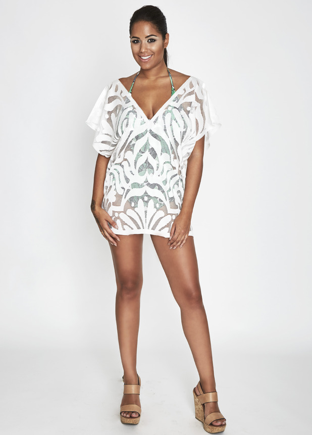 Love Island's Malin Andersson shows off her clothing collection with Oh Weekend, printed kaftan, 25th July 2016