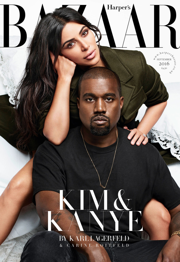 Kim Kardashian and husband Kanye West appear on the front cover of Harper's BAZAAR Magazine, 28th July 2016